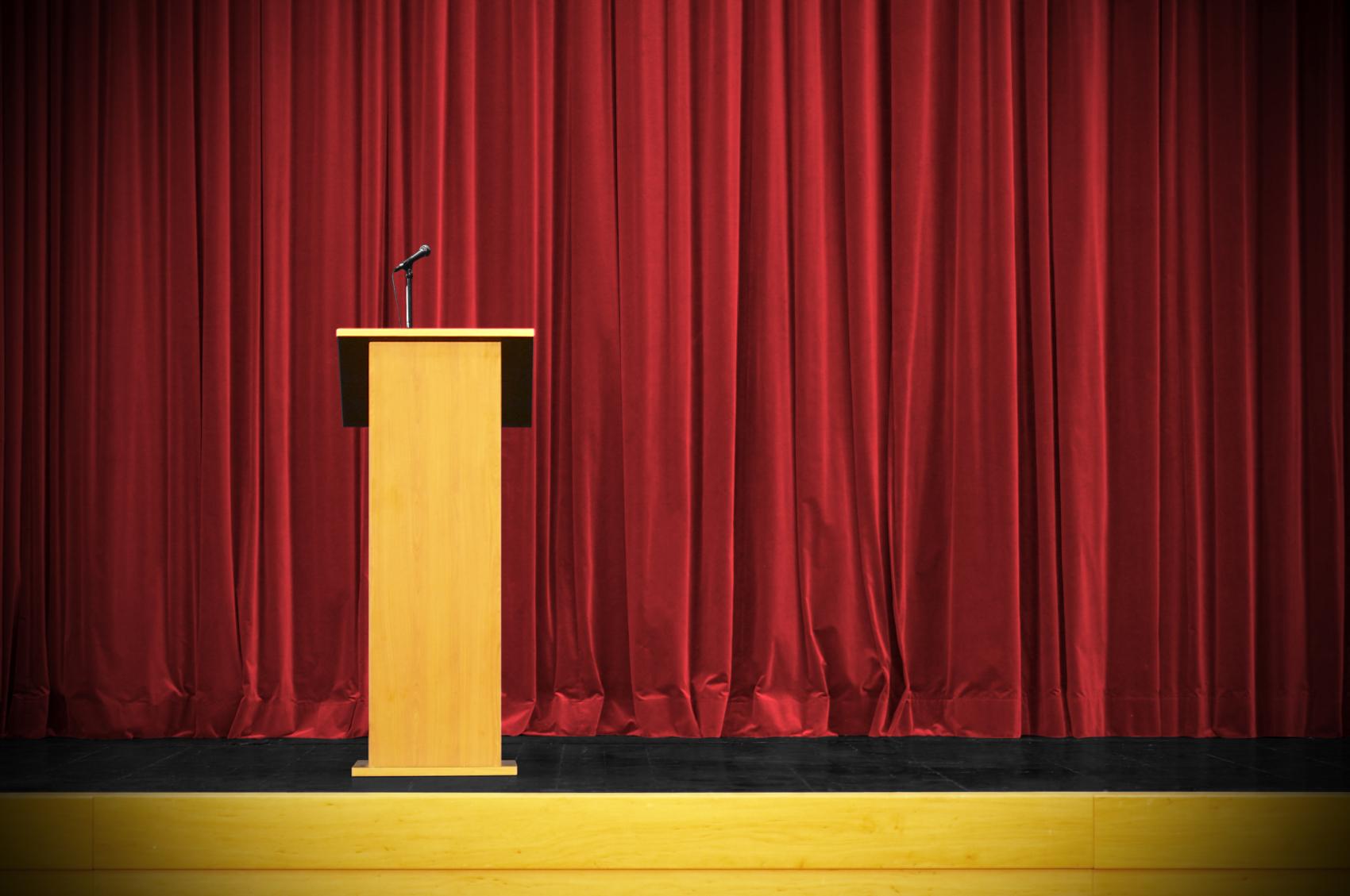 Podium With Curtains : Poli talks the peak