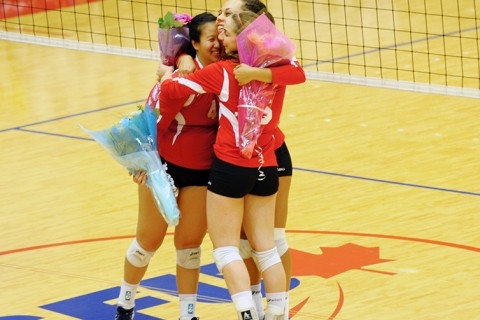Helen Yan, Jessica Young, and Danielle Curtis all played their last home game.