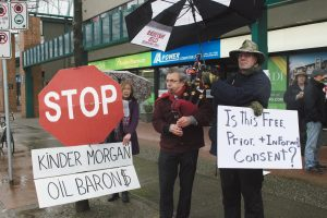 Protestors gathered outside MP Terry Beech's office on January 29.