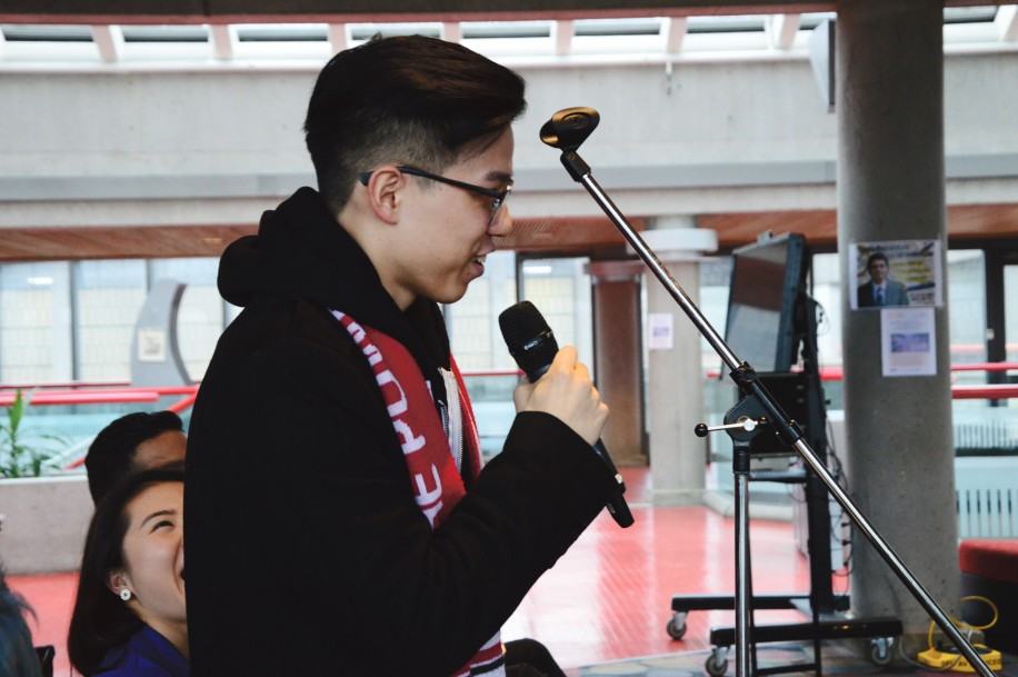 Current SFSS President Enoch Weng questions candidates at one of the Burnaby debates this year.