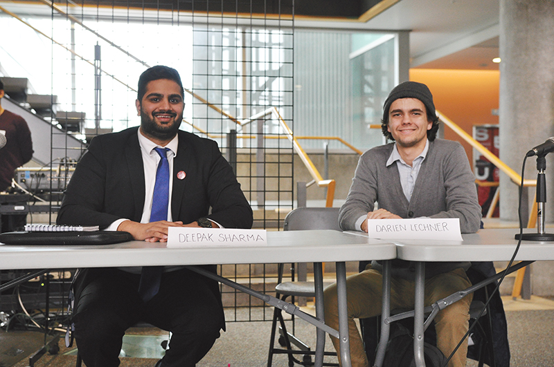 All smiles from Presidential candidates Deepak Sharma (left) and Darien Lechner (right).