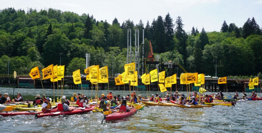 On May 14 protesters converged on the Westridge terminal in North Burnaby in a kayak floatilla. - Photo courtesy of The National Observer