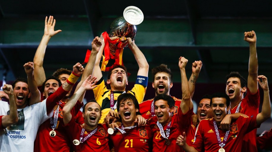 Spain's soccer team is seen celebrating their victory at UEFA Euro 2012.