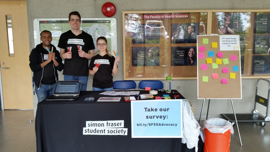 From left to right, Arr Farah, Mark Thompson and Natalia Gretskaia hand out freezies for those who complete the survey.