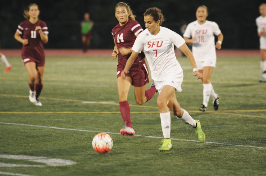 Olivia Aguiar, seen here in action last season, scored the first goal of the match to give SFU the lead.