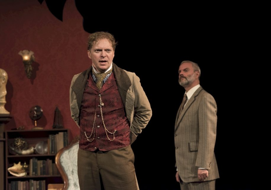 Alex Zahara (left) who plays the titular Holmes and Mark Weatherley (right) who plays the ever faithful Watson are the only two actors who remain in the role of a singular character for the entire play.