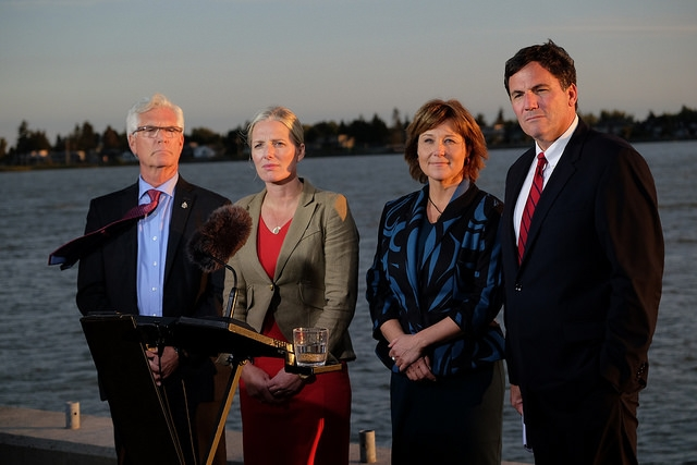 Natural Resources Minister Jim Carr, Federal Environment Minister Catherine McKenna, Premier Christy Clark and Fisheries Minister Dominic Leblanc announced the new LNG project in British Columbia, which will make it virtually impossible for B.C. to meet its climate targets.