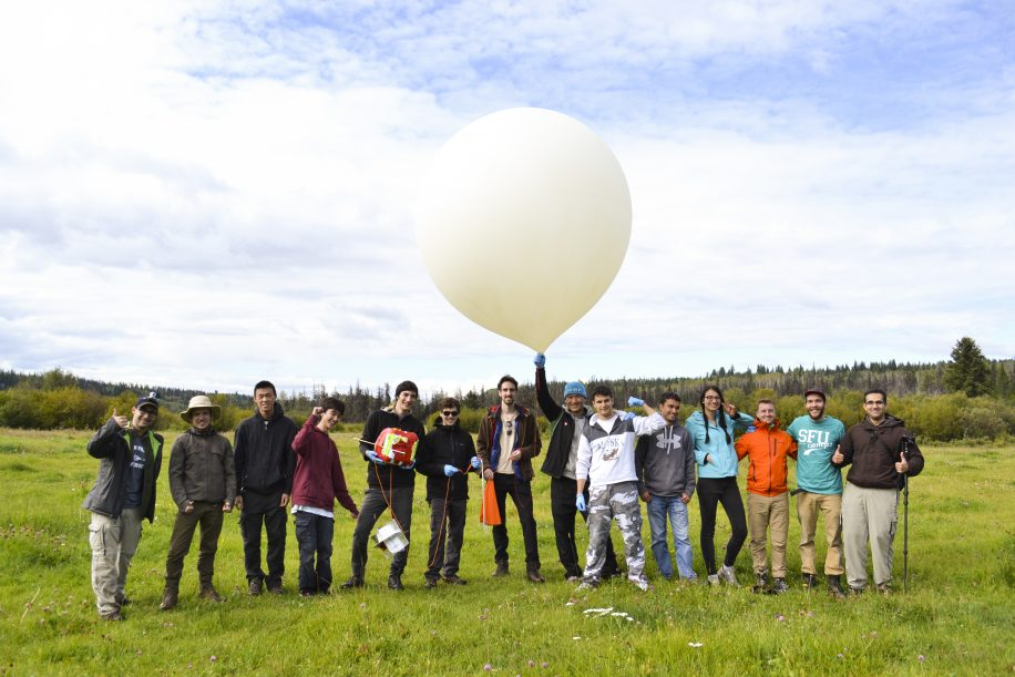 The SFU satellite club at the pre-launch of their weather balloon.