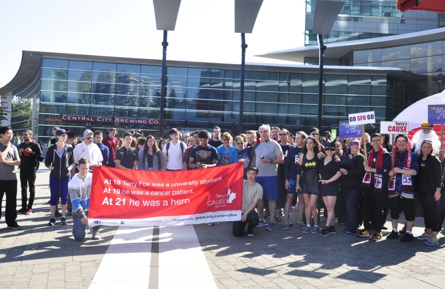 SFU Surrey students gather for the annual Terry Fox run.