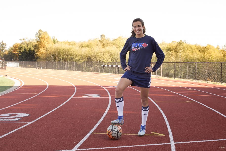 Aguiar is the co-captain of the women's soccer team, as well as president of the Student Athlete Advisory Committee (SAAC).