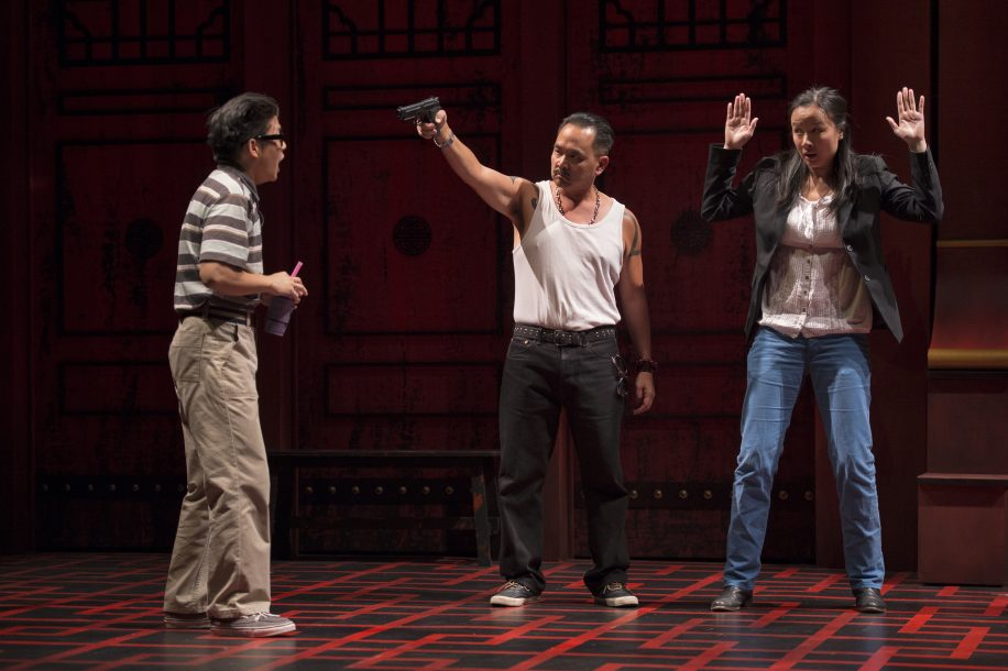 SFU alumnus Milton Lim (left) shares the stage with Raugi Yu (centre) and Andrea Yu (right) in Gateway Theatre's production of King of the Yees.