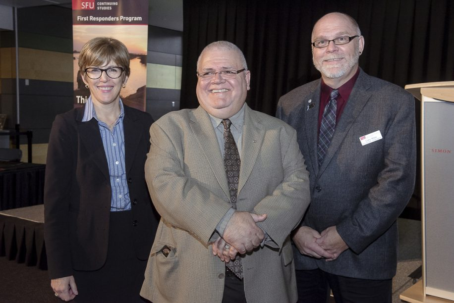 Yvonne Tabin (dean pro tem, SFU Lifelong Learning), Vince Savoia and Larry White