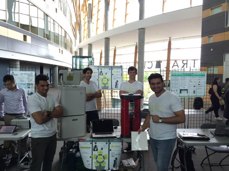 "The Ello Intuitive Robotics team show off their latest piece of technology, a ""smart"" recycling bin."