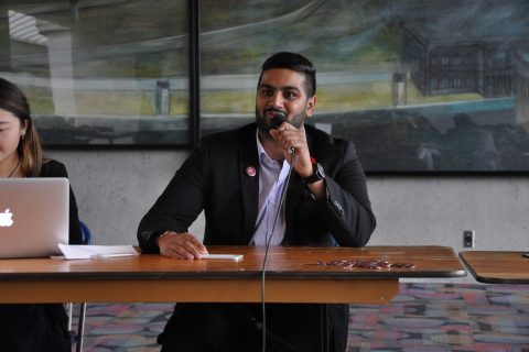 Deepak Sharma speaks at Wednesday's debate at Burnaby campus. Having stepped down as president after his election last spring, Sharma is hoping to regain the confidence of the student body and return as president-elect.
