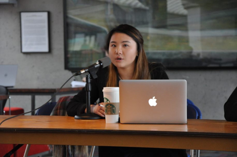 Larissa Chen speaks at Wednesday's debate on Burnaby campus. Chen's campaign is focused on continuing her tenure as interim president.