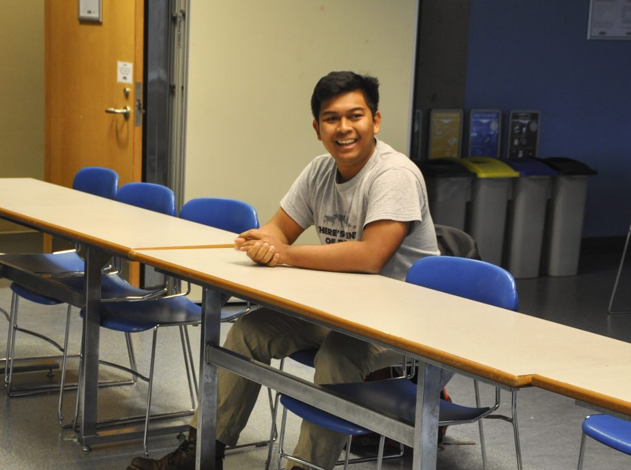 Thadoe Wai reacts with glee upon learning that he won the position of environment representative for the SFSS.