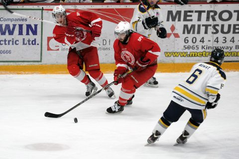 Jaret Babych (centre) scored the team's third goal of the night.