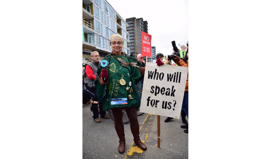 One of the several thousand protesters in Vancouver today speaking out against the Trans Mountain pipeline.