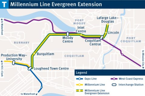 A map detailing all the new stops on the Evergreen line