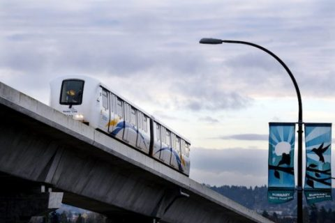 A train runs along the Evergreen line earlier this week in preparation of opening today.