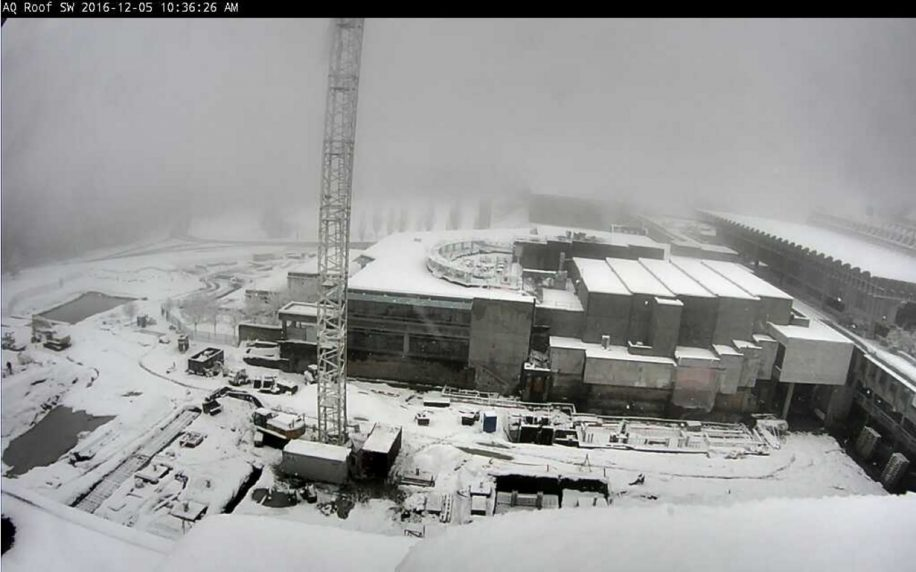 SFU is blanketed in snow, and it looks like this could be the scene on Burnaby Mountain for the next while.