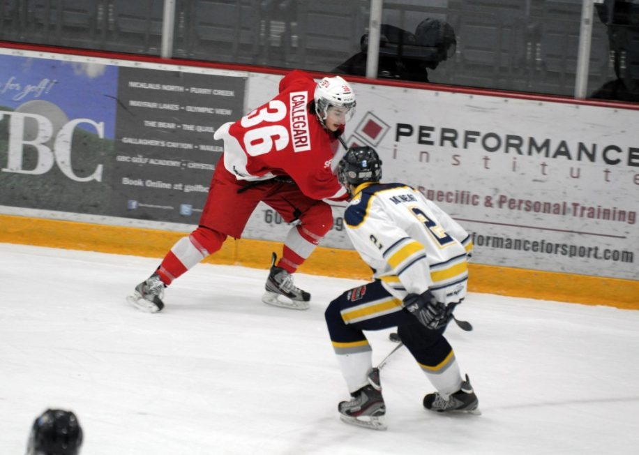 Adam Callegari (#36) had one assist in the team's 4–2 loss to Selkirk College.