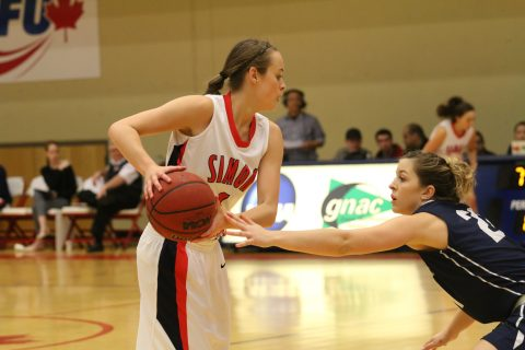 Elisa Homer (left) had 11 points in 22 minutes, going three for six from behind the arc.