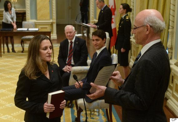 Chrystia Freeland is sworn in as Minister of Foreign Affairs as Prime Minister Justin Trudeau and Governor General look on.