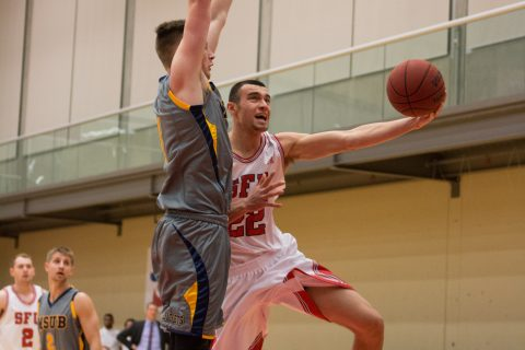 JJ Pankratz (right) played a season high 36 minutes against Alaska Fairbanks, finishing with 19 points and 3 steals.
