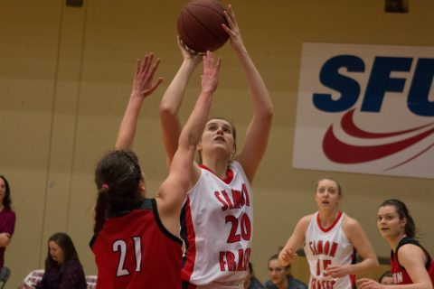 Samantha Beauchamp (#20) had 10 points and eight rebounds coming off the bench for SFU.
